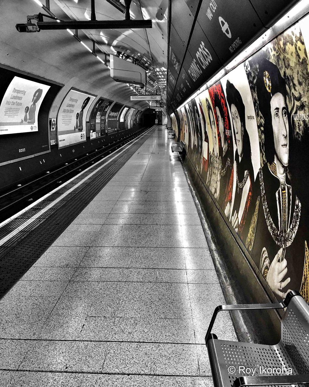 Along the platform at Charing Cross tube station, London