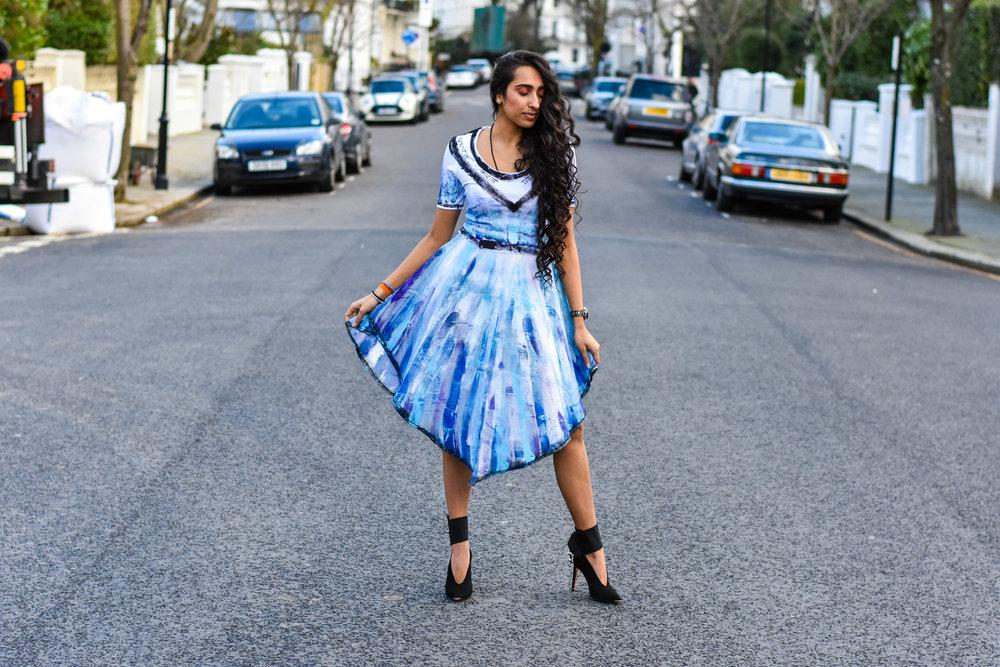 Reena Lakhani in Mandali Mendrilla bespoke 2-piece attire