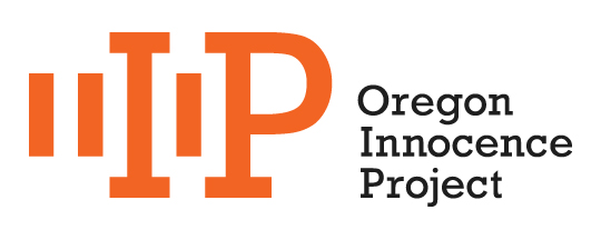 "The Hidden ""O"" Logo: The columns and bars represent the DNA testing form grid and the ""O"" letter form is constructed with the negative space between the ""I"" and ""P"": the ""I"" and ""P"" also represent prison bars and the hidden ""O"" represents those Oregonians wrongfully incarcerated in our prisons and whose voices have been unheard until now."