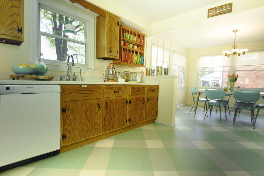 AFTER: New flooring pattern complements the retro style
