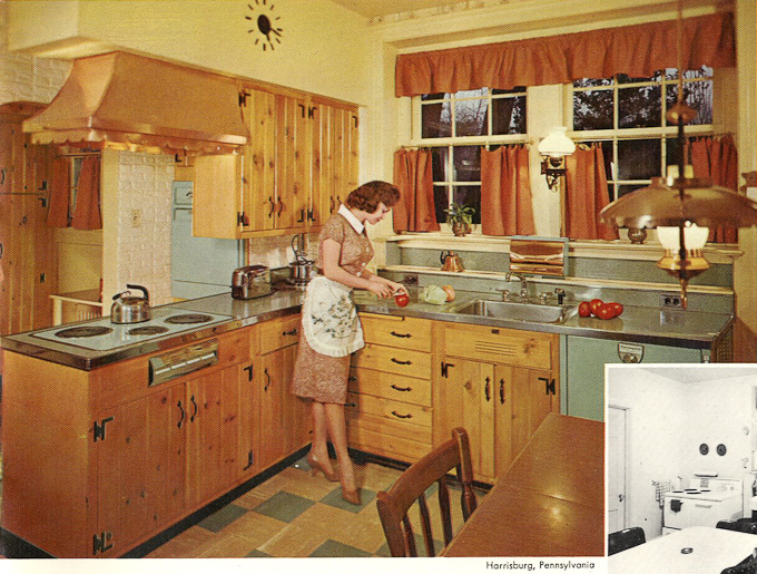 WAY BEFORE: Vintage Wood-Mode Kitchen cabinets like those preserved in the Perl Residence