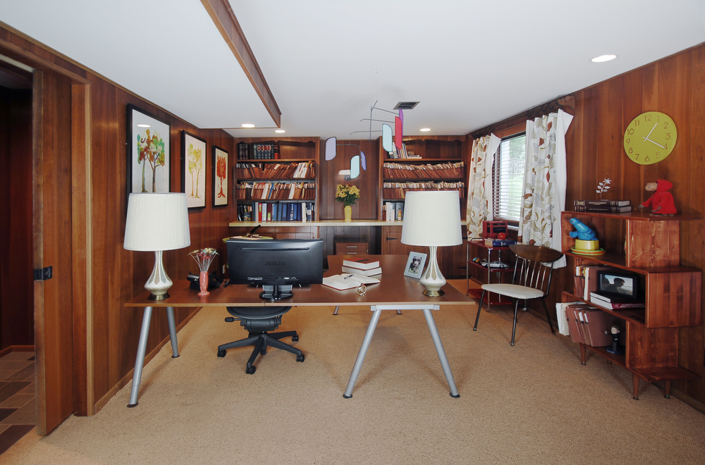 AFTER: Home Office with extended wall and matching pocket door