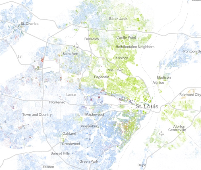 Source:  The Racial Dot Map . Based on 2010 Census data, a blue dot indicates 1 white resident and a green dot indicates 1 black resident.