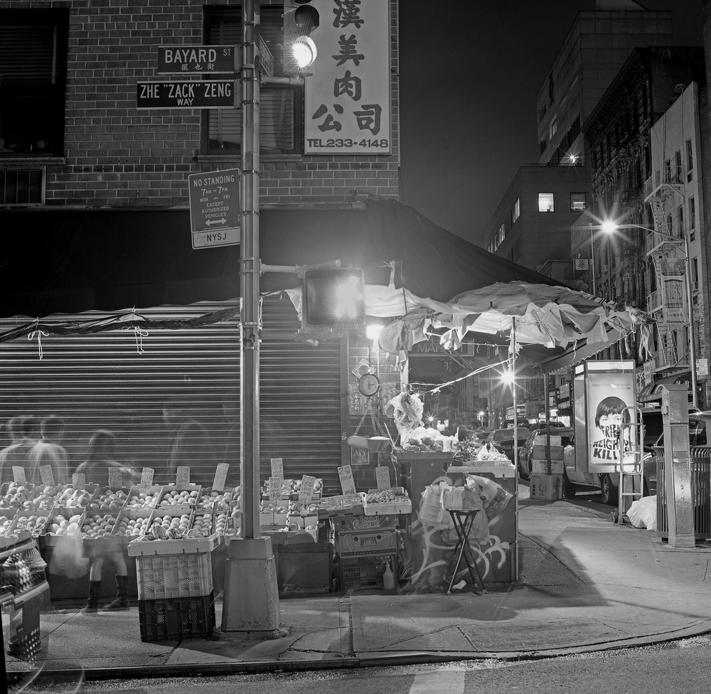 Chinatown Corner at Night, NYC, 6x6 Fuji Acros Film