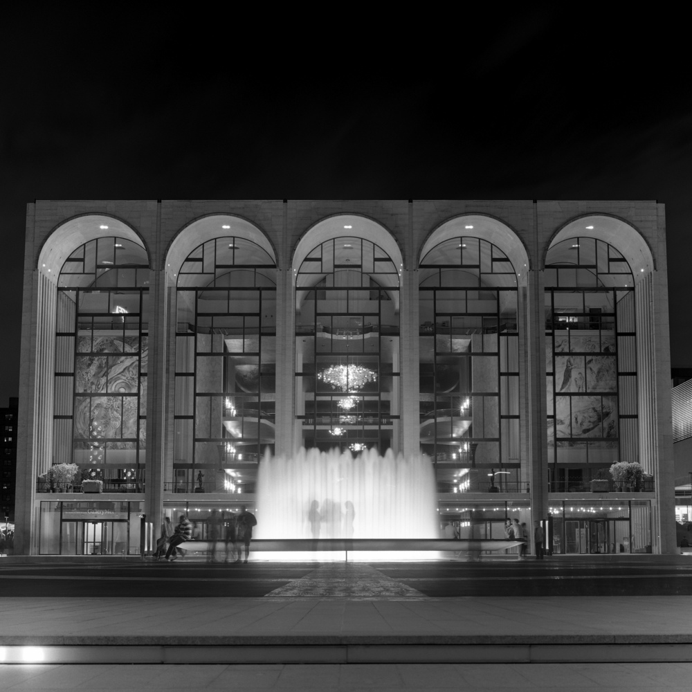 Lincoln Center Fountains at Night, NYC, 6x6 Fuji Acros Film