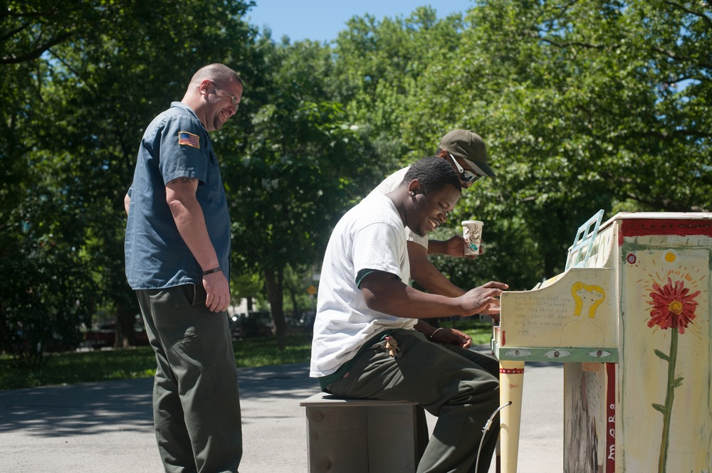 City Workers Taking a Lunch Break at the McCarren Park Sing for Hope Piano