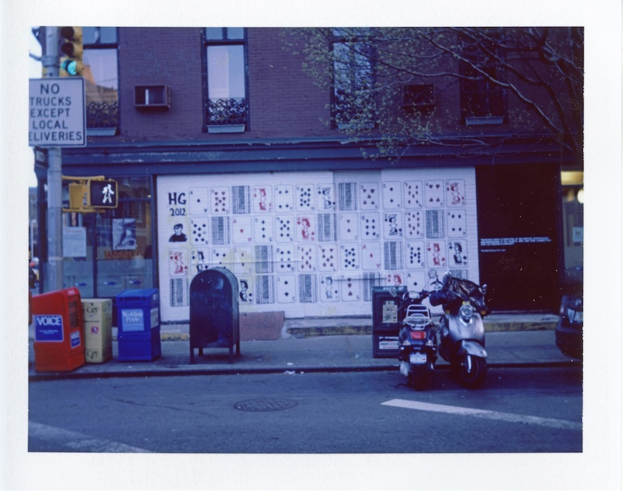 Bleeker Street Cards Mural, Fuji FP100C in Polaroid Land Camera