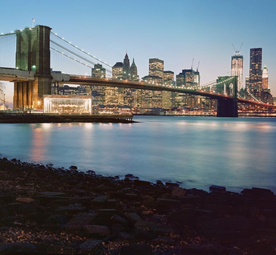 Long Exposure of the Brooklyn Bridge on Kodak Portra 400 4x5 Sheet Film
