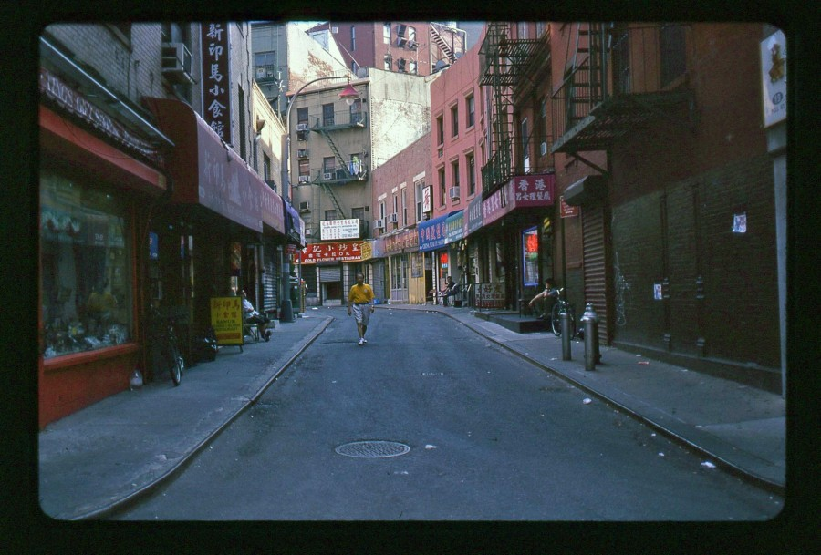 Man Walking Down Pell Street in NYCChinatown, Kodachrome 64