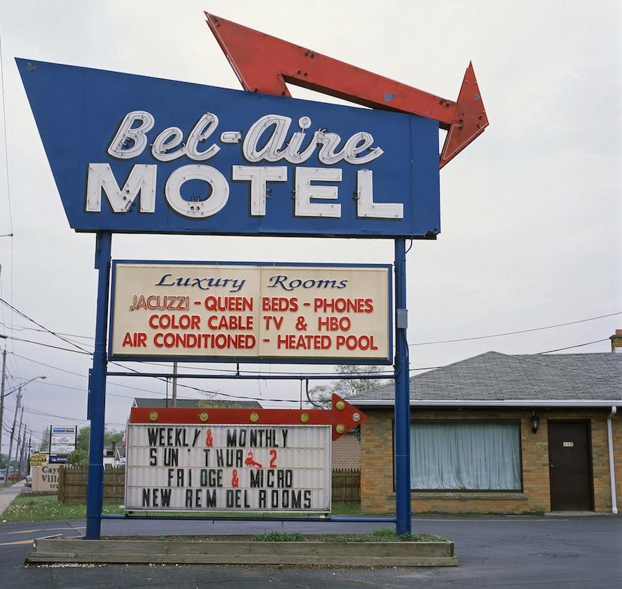 Bel Aire Motel Sign , Niagara Falls, Fuji Provia 100