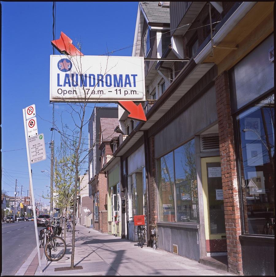 Laundromat Sign, Toronto, Fuji Provia 100 Slide Film