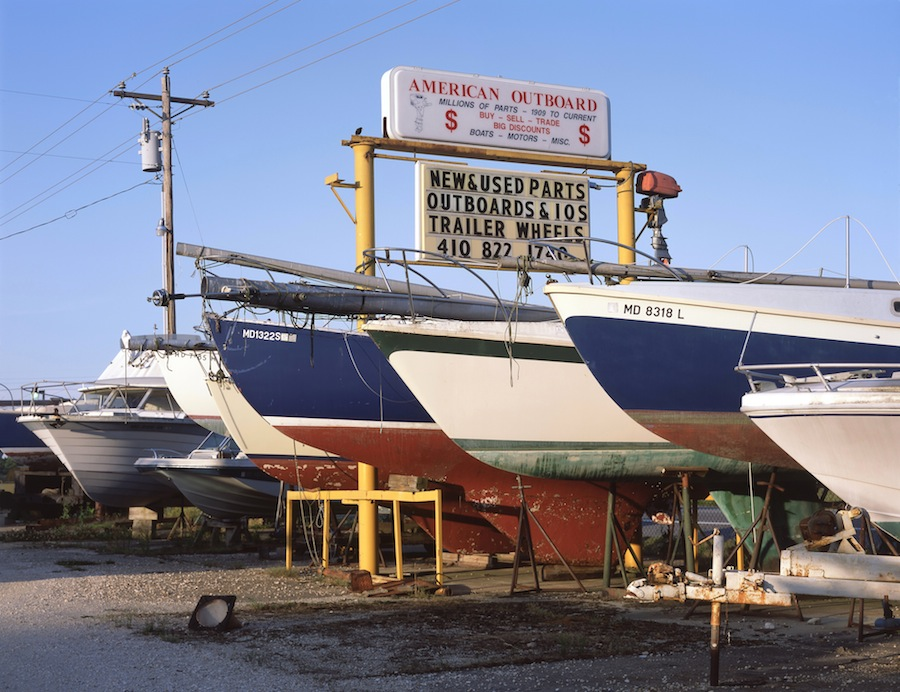 Used Boats, US 50 East, Maryland, Fuji Provia 100 Slide Film