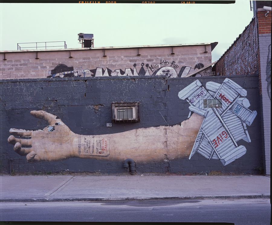 Overunder Outstretched Arm, Bushwick, Brooklyn, Fuji Provia 4x5 Slide Film