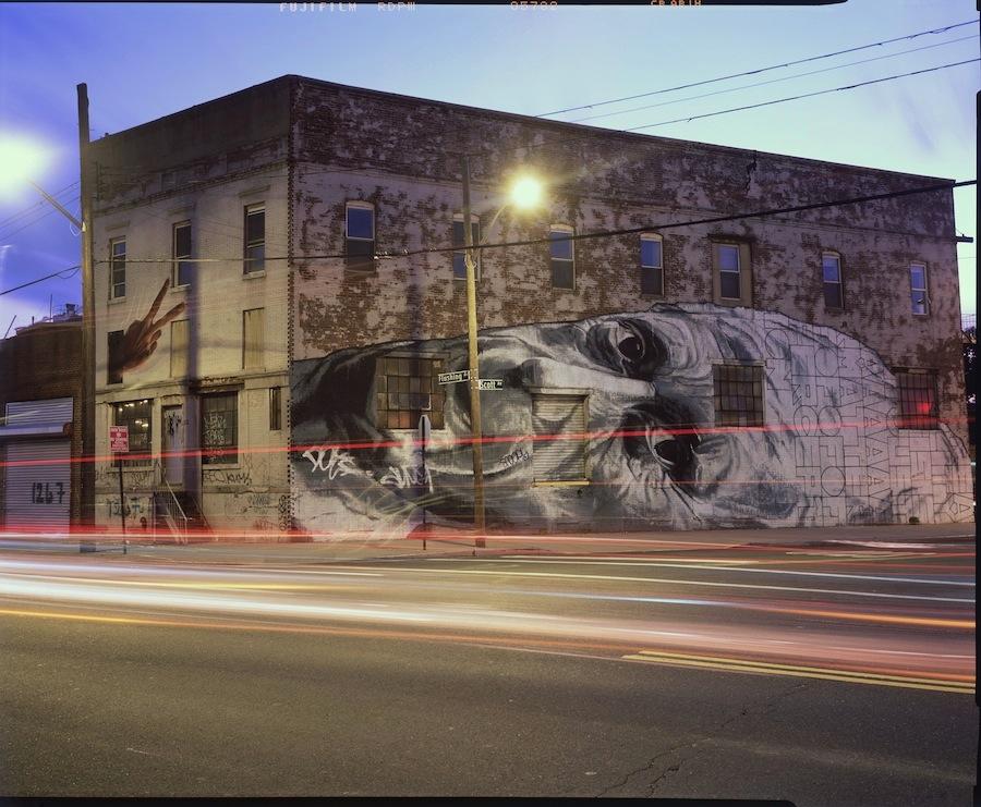 ECB Face Mural Version Two, Flushing Avenue, Bushwick, Brooklyn, Fuji Provia 4x5 Slide Film