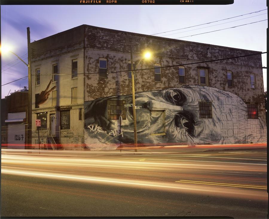 ECB Huge Face, Flushing Avenue, Bushwick, Brooklyn, Fuji Provia 4x5 Slide Film