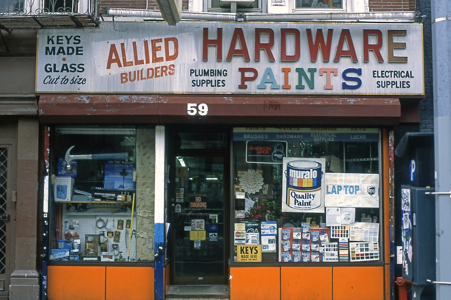 Allied Builders Hardware and Paints, East Village, NYC, Fuji Provia 100