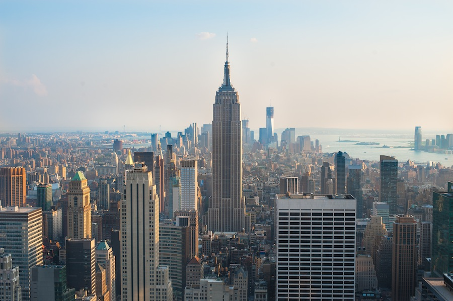 View of Manhattan and the Empire State Building from the Rockefeller Center Observation Deck, New York City