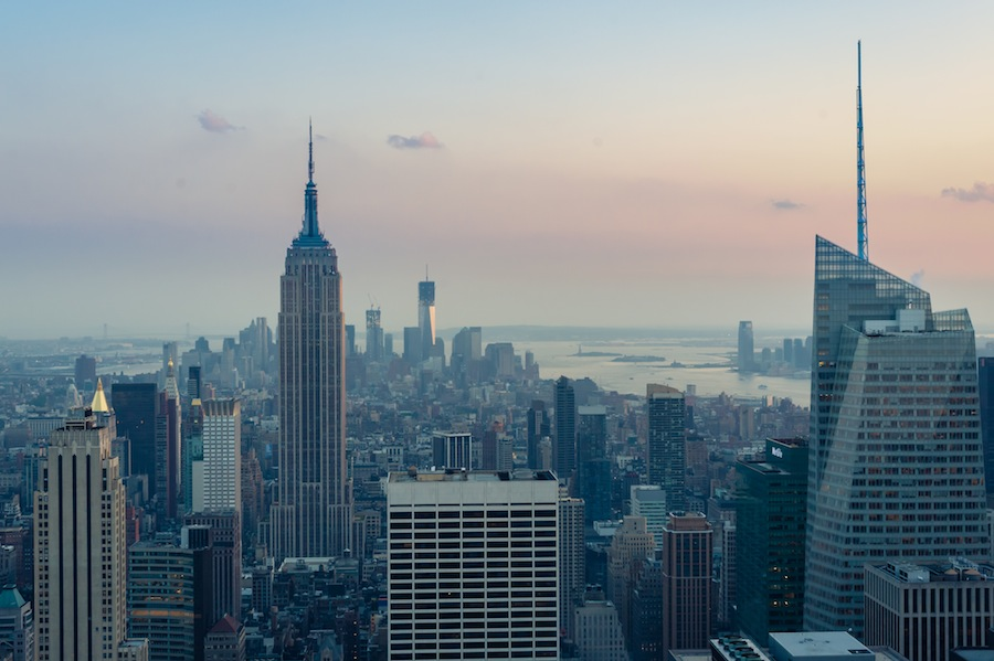 Empire State Building at Sunset from the Top of the Rock Observation Deck