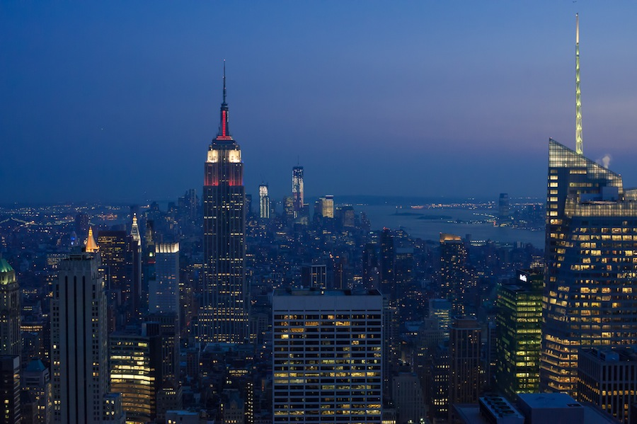 The Empire State Building just after Sunset from Top of the Rock Observation Deck
