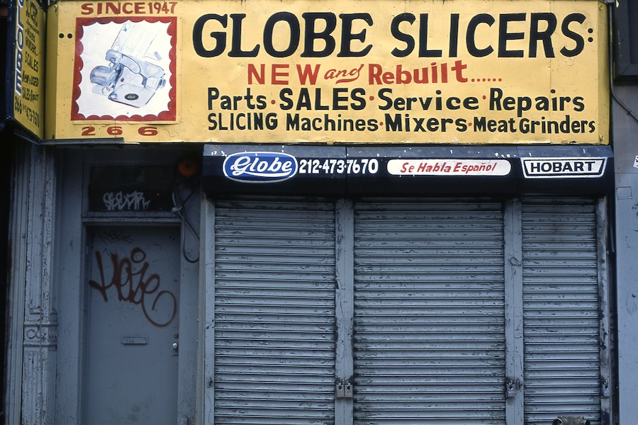 Globe Slicers Sign, East Village, Fuji Provia 100