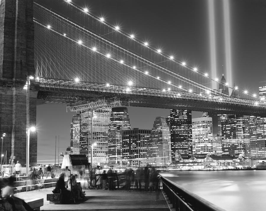 NYC Tribute in Lights, Brooklyn Bridge, and Lower Manhattan, Fuji Neopan Acros 100