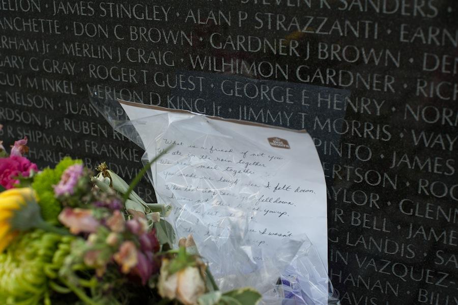 Note on Vietnam Wall, Washington, DC
