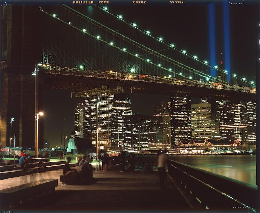 NYC 9/11 Tribute in Lights and Brooklyn Bridge, 4x5 Fuji Provia Film