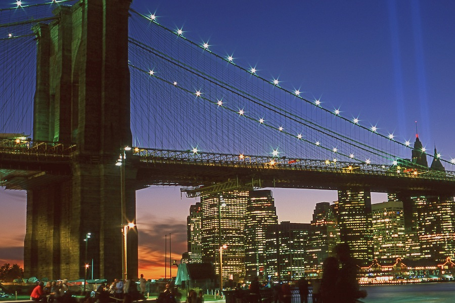 NYC 9/11 Tribute in Lights and Brooklyn Bridge