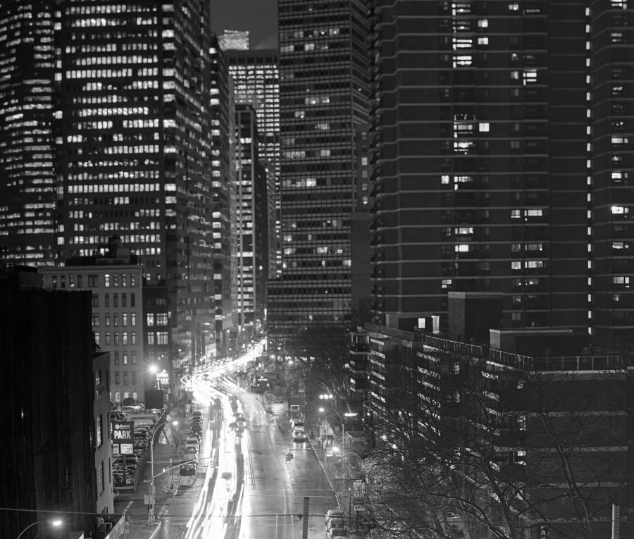 Long Exposure of Water Street shot from the Brooklyn Bridge, NYC, Fuji Neopan Acros 100