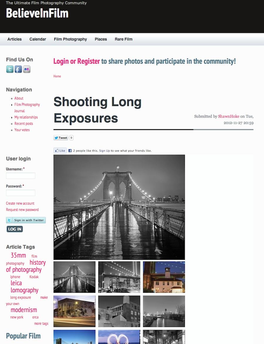 Long Exposures Article Screenshot at BelieveinFilm.com