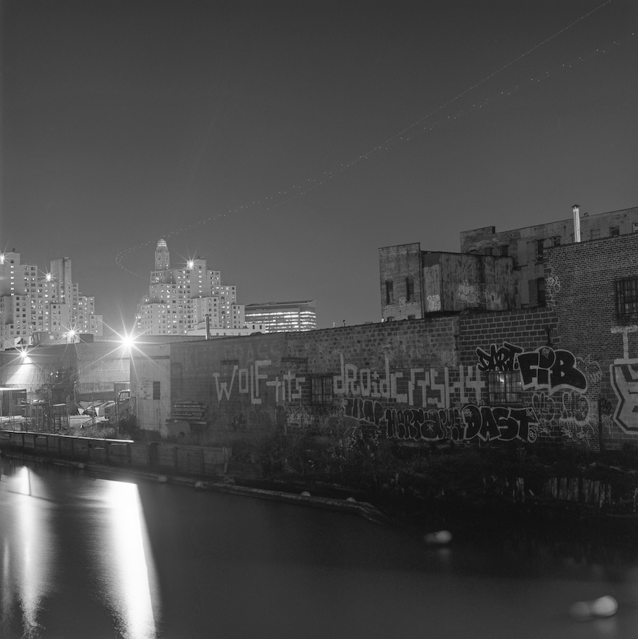 Gowanus Canal Graffiti with the Williamsburg Savings Bank Tower, Brooklyn