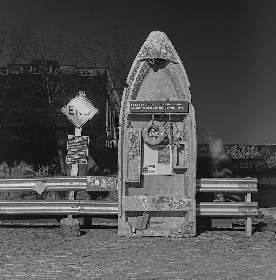 Long Exposure of Random Office Chair and Street Art by Gowanus Canal, Brooklyn, Fuji Neopan Acros 100 Film