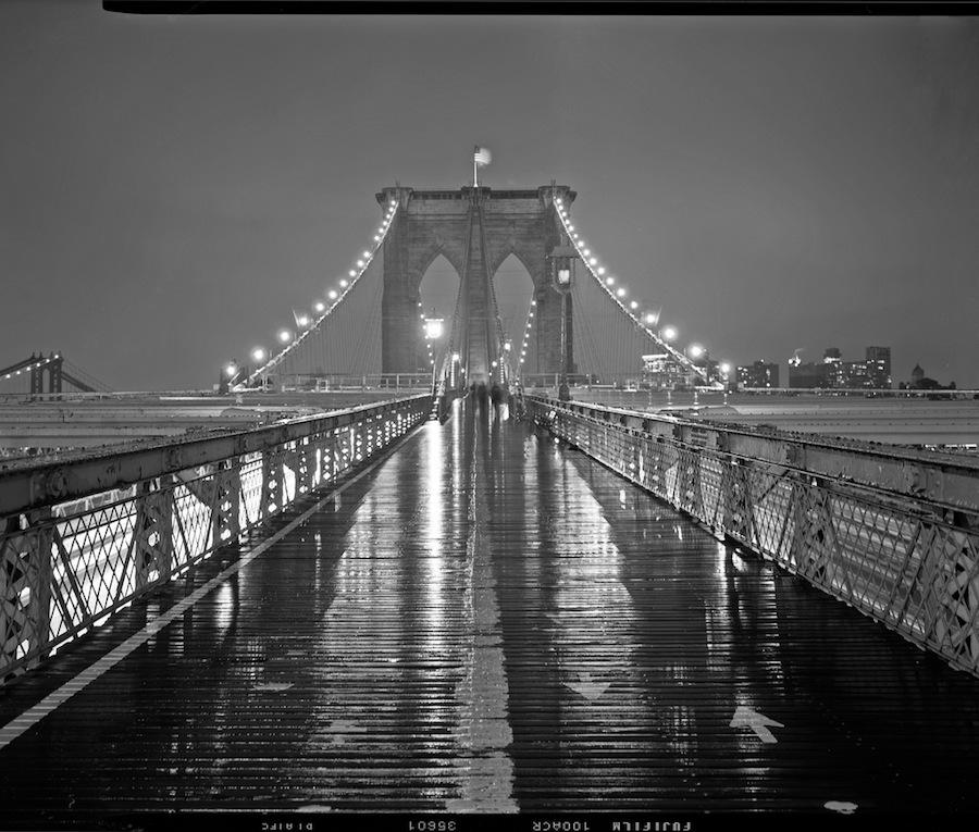 Rainy Brooklyn Bridge at Night, Toyo 45A and Fuji Neopan Acros 100