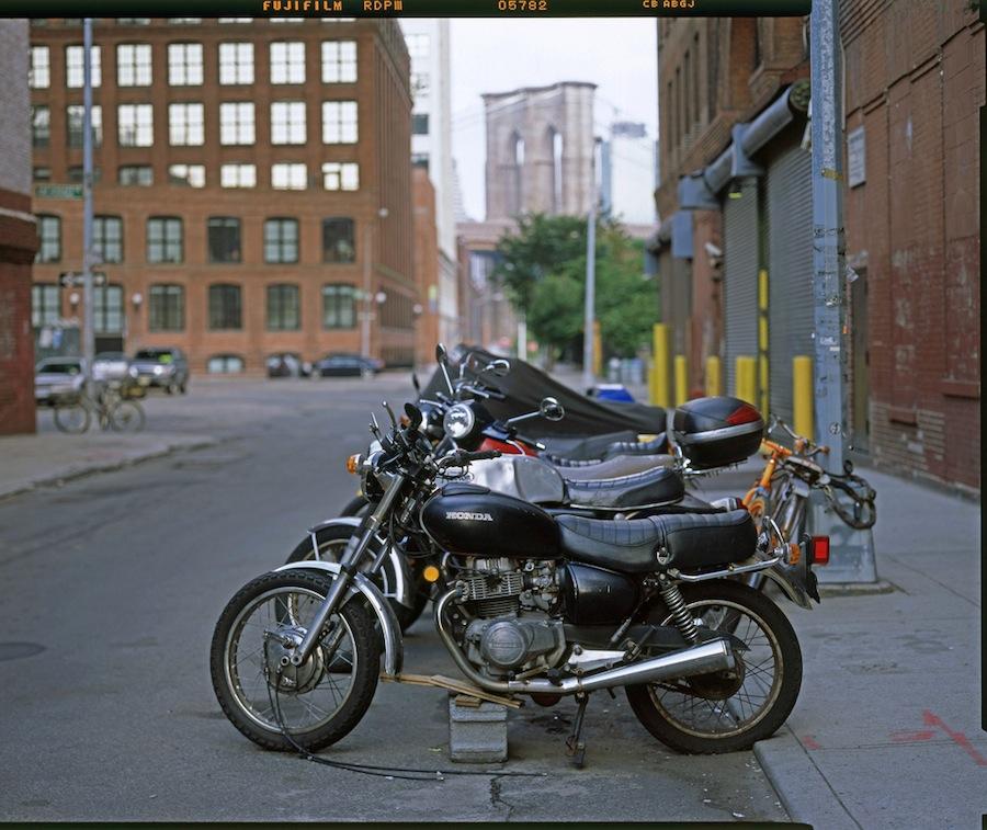 Honda Motorcycle in Dumbo, Brooklyn, Toyo 45A and Fuji Provia 100
