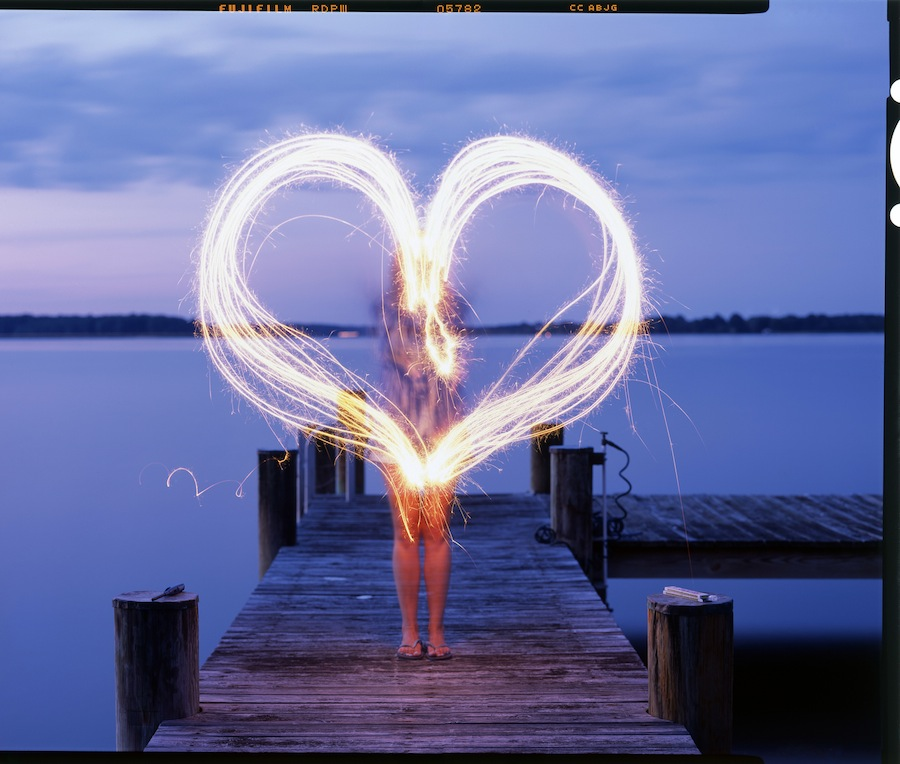 Kate Making a Heart out of Sparklers on the Dock, St. Michaels, Toyo 45A and Fuji Provia 100