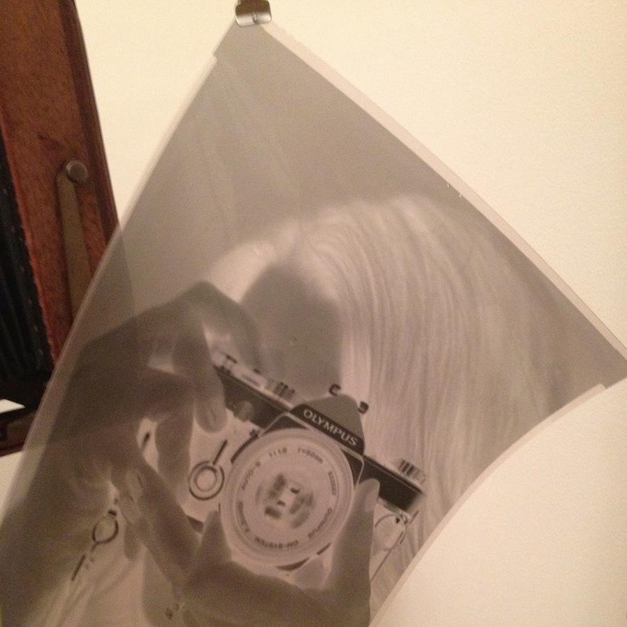 8x10 Negative of Kate and Olympus OM-1 on Kodak Tri-X 320