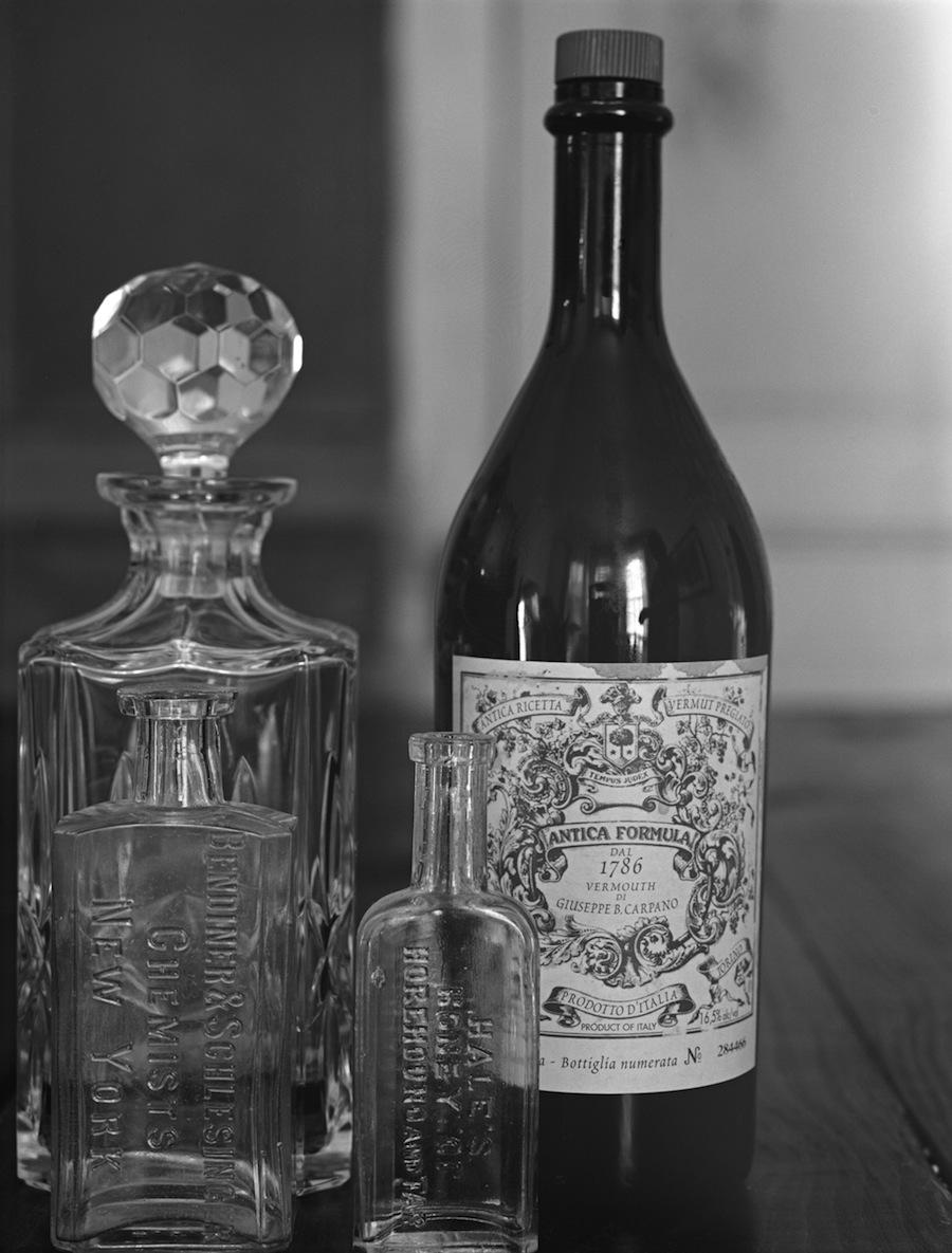 Bottles on Table Test, 8x10 Negative, Kodak Tri-X 320