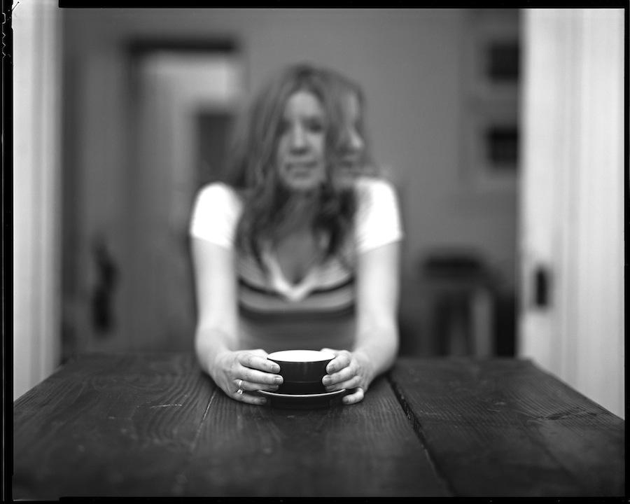 Kate and Coffee, 8x10 Negative, Kodak Tri-X 320 at f5.6