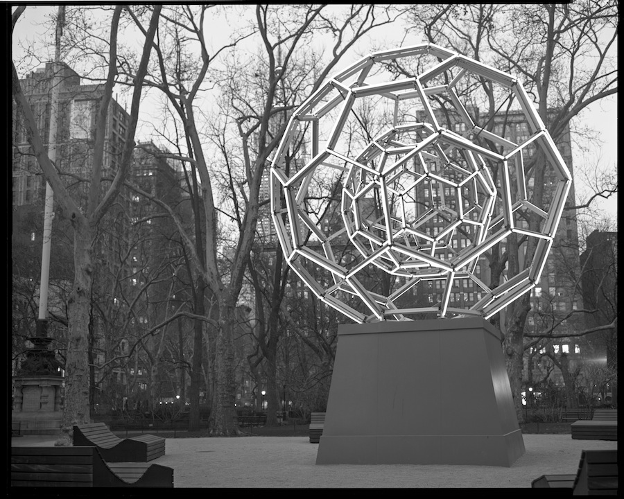 Leo Villareal's Buckyball, Madison Square Park, 8x10 Kodak Tri-X 320 Film