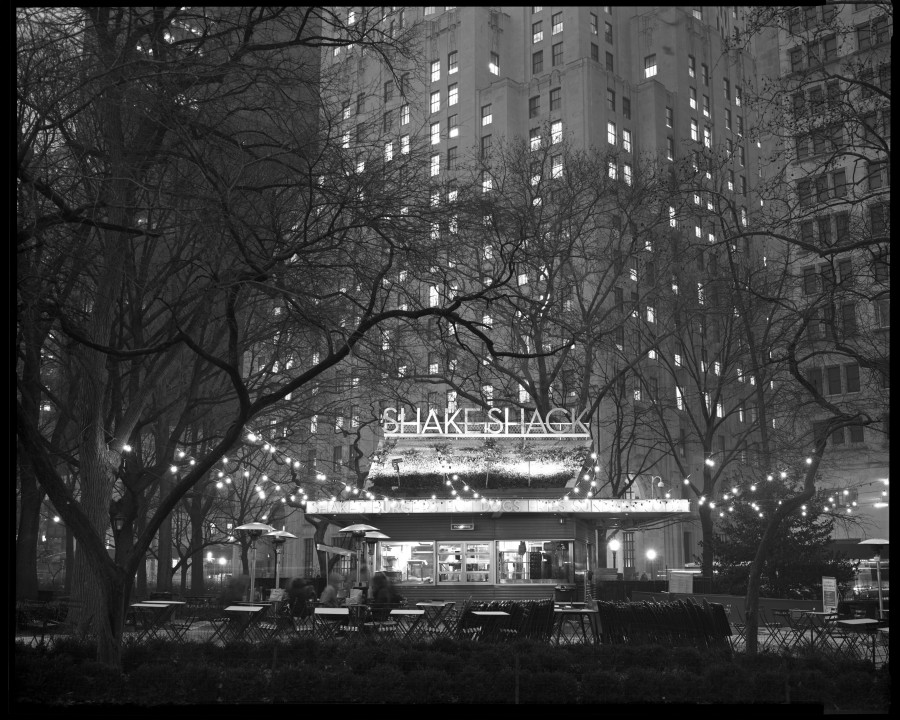 Madison Square Park Shake Shack at Night, NYC, 8x10 Kodak Tri-X 320