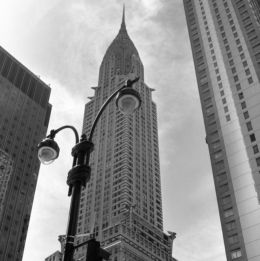 Chrysler Building and Lampost, NYC, Fuji Neopan Acros 100