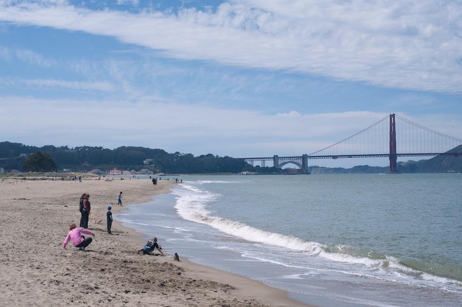 A San Francisco Beach with the Golden Gate Bridge