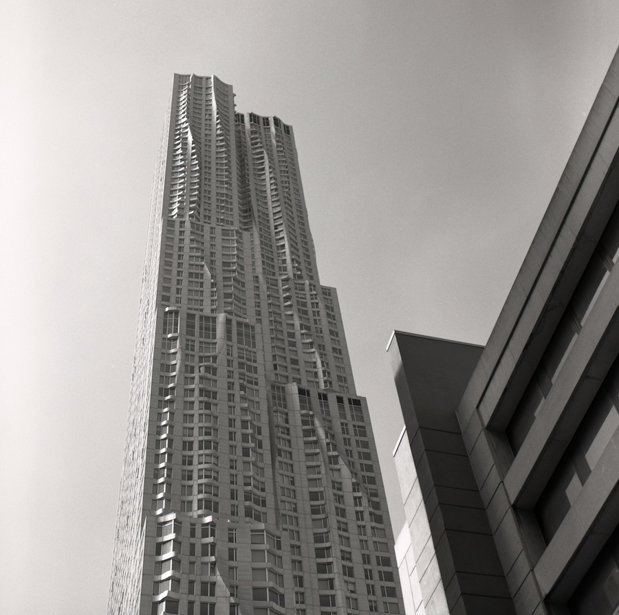 New York by Gehry Building, NYC, Fuji Neopan Acros 100 Film