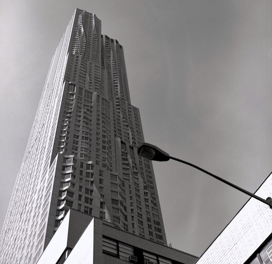 New York by Gehry Building and Street Light, NYC, Fuji Neopan Acros 100 Film
