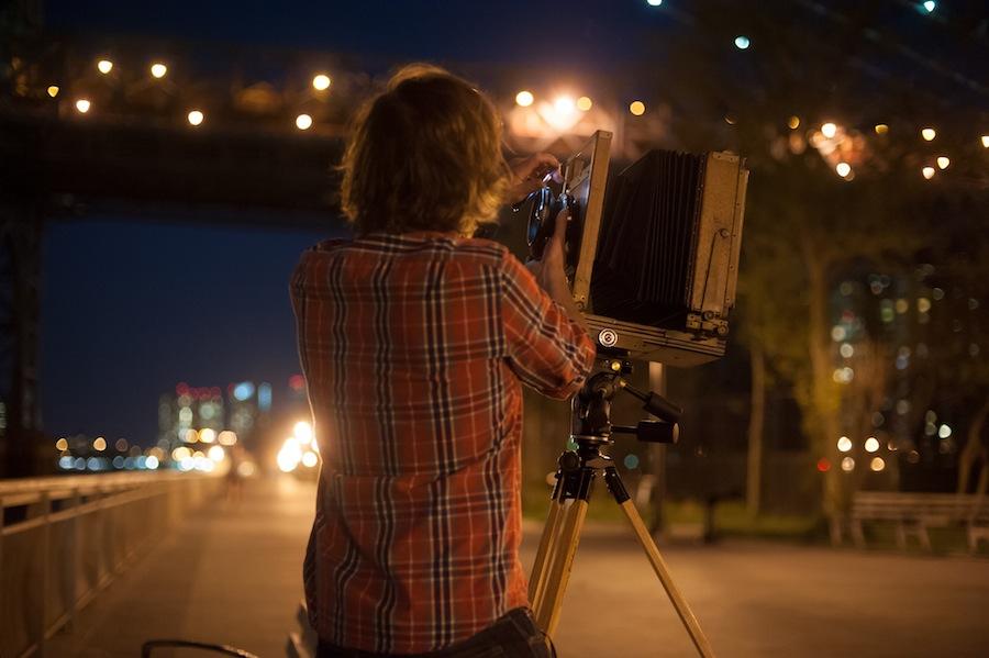 Adjusting Lens Aperture on 8x10 Camera, NYC