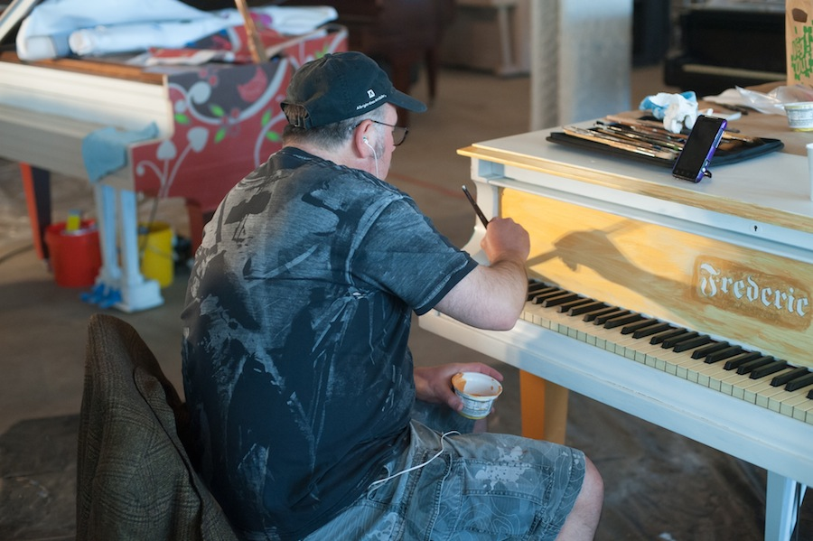 Frederic Hard at Work on his Sing for Hope Piano