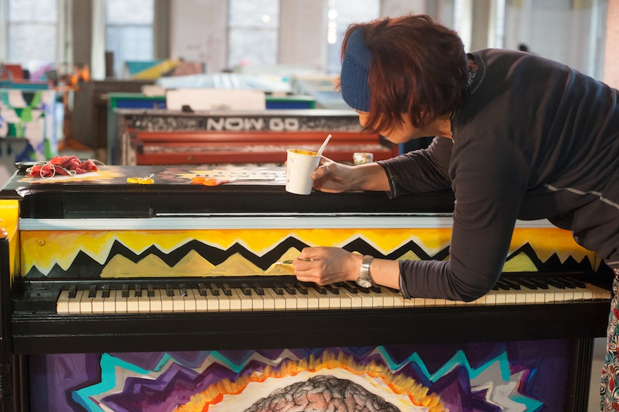 Jennie Working on her Sing for Hope Piano