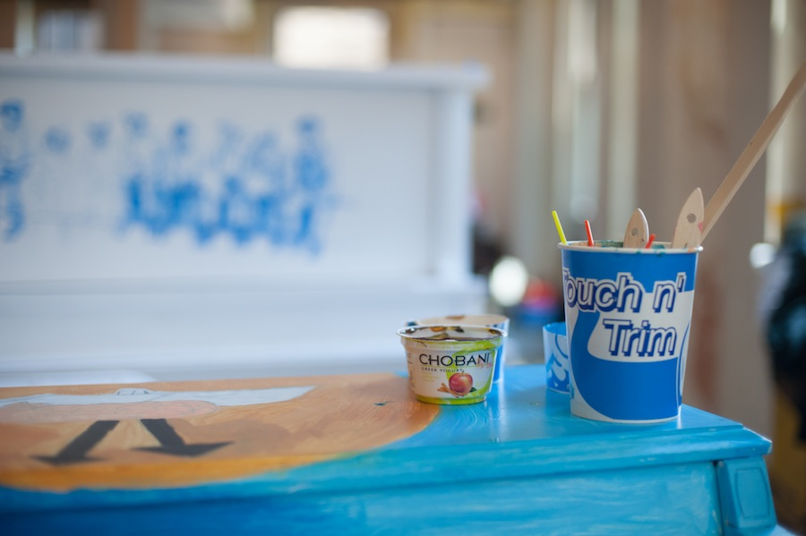 Sing for Hope Piano Used Chobani Yogurt Cups Make Excellent Paint Holders 2