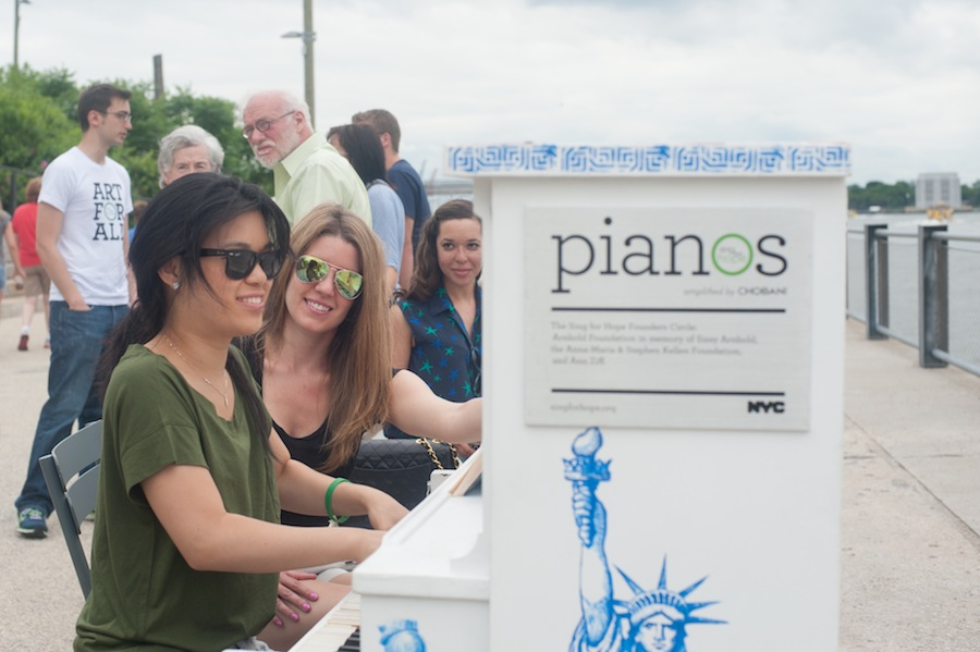 Angela and Kate at Stefan's Sing for Hope Piano, Brooklyn Bridge Park