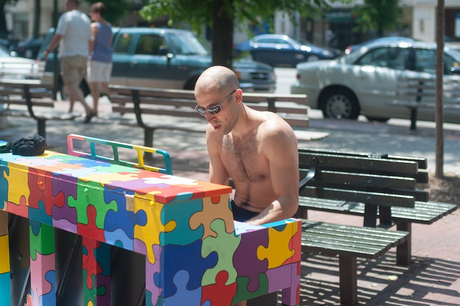 AnAnother Man Playing Michael's Sing for Hope Piano at Little Red Square, West Village